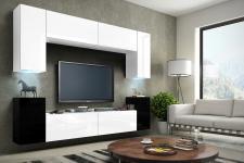 Mediawand Wohnwand 8 tlg -Konzept 1- Weiss/Schwarz matt mit LED-Beleuchtung