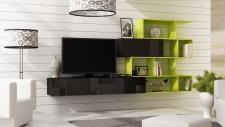 Mediawand Wohnwand 3 tlg - SKY - Schwarz HGL / Limette