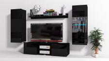 Mediawand Wohnwand 4 tlg - Konzept 32 - Schwarz Hochglanz +LED
