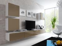 Mediawand Wohnwand 5 tlg - MyMix 1 - Weiss / Latte Hochglanz
