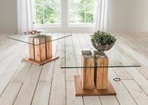Couchtische mit ESG Glas - Gero 1 - Wildeiche Massiv geölt 80 x 80 cm