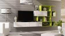 Mediawand Wohnwand 3 tlg - SKY - Weiss HGL / Limette