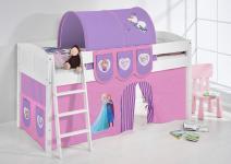 Spielbett Bett -LANDI - FROZEN 1 -Teilbar - Kiefer Weis -mit Vorhang