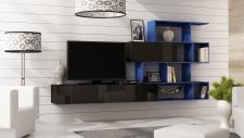Mediawand Wohnwand 3 tlg - SKY - Schwarz HGL / Blau