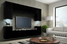 Mediawand Wohnwand 8 tlg - Konzept 1 -Schwarz matt mit LED-Beleuchtung