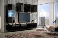 Mediawand Wohnwand 7 tlg - Konzept 4 - Schwarz HGL mit LED-Beleuchtung