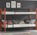 Metallbett Orange-Schwarz Hochbett in zwei Einzelbetten teilbar Darvin 2