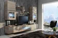 Wohnwand Schrankwand 7 tlg - SENS - Sonoma matt mit LED-Beleuchtung