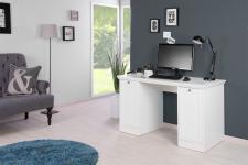"""Schreibtisch Bürotisch """" Home"""" Weiss im Landhausstil 136x75x63 cm"""