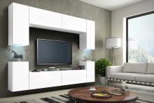 Mediawand Wohnwand 8 tlg - Konzept 1 - Weiss matt mit LED-Beleuchtung
