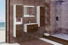 Badmöbel Set 4 tlg. Weiss / Schoko matt -AILIN 1- ohne Waschtisch