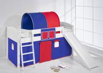 Spielbett mit Rutsche -LANDI/R - Blau Rot -Kiefer Weiss -mit Vorhang