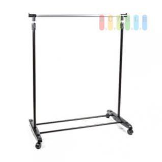 Kleiderständer fahrbar mit 1 Stange, höhenverstellbar in schwarz/silber