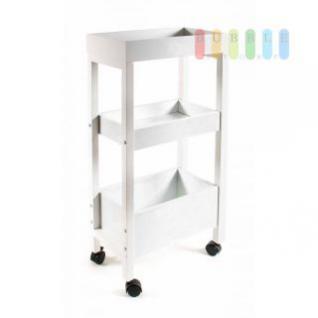 Küchen- /Utensilienwagen mit 3 Etagen, 4 Möbelrollen, 2 feststellbar, Holz weiß lackiert, Größe ca. 40, 5 x 21 x 81 cm
