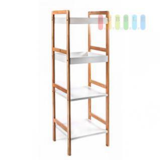 Bambus-Regal von Homestyle 4 Fächer, 2 mit Rand aus MDF, Materialmix natur-weiß, Höhe 110 cm