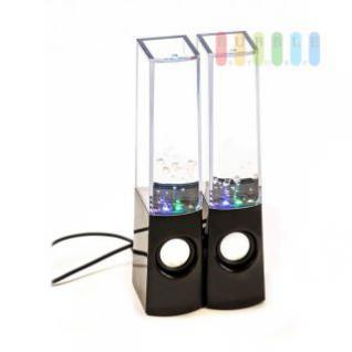 Lautsprecher von PartyFunLights mit Wasserfontäne, bunt, soundgesteuert, plug& play, 8 LEDs, 6 Watt, 1 Paar, Höhe 22, 5 cm
