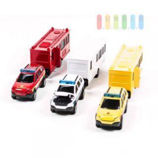 Einsatzfahrzeug-Modell-Gespann 1:32 mit Geländewagen und Anhänger, Länge 31 cm, lieferbar als Feuerwehr, Polizei oder Feuerwehr
