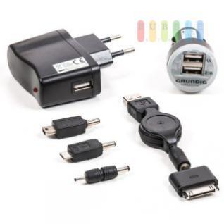 Netz-/KFZ-Ladegerät-Set 7-teilig Grundig mit 2 USB-Anschlüssen, 230V/1A/5V, 12/24V/1A