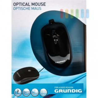 Optische Maus von Grundig geeignet für Windows und Mac, 4 Tasten, 800 DPI, schwarz
