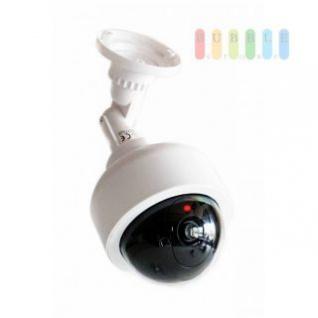 Überwachungskamera-Attrappe, runde Bauweise, kabellos, batteriebetrieben, 1 LED rot, Größe ca. 28 cm, weiß