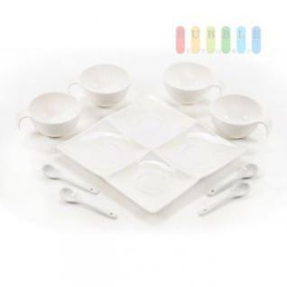 Dipschalen Set aus Keramik mit Schalen und Löffeln, 9 teilig, weiß