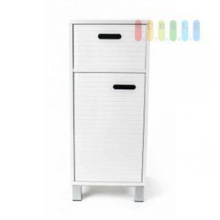 Schubladenschrank von Homestyle, 1 Schublade, 1 Fach mit Tür, Design skandinavisch, Grifflöcher, Höhe ca. 79 cm, weiß