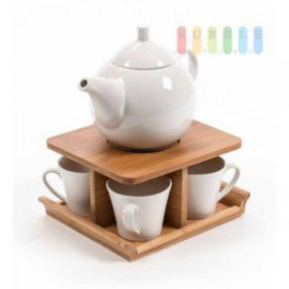Tee-Set Trento Collection, Porzellan-Service, 1 Kanne, 4 Tassen, Bambus-Ständer, 22 x 18 x 11 cm