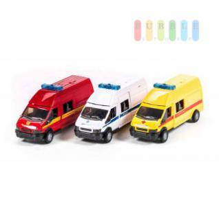 Einsatzfahrzeug-Modell 1:48 mit Sirene, Warnlicht, Schiebetür und AHK, Länge 17 cm, lieferbar als Feuerwehr, Polizei oder Notarztwagen