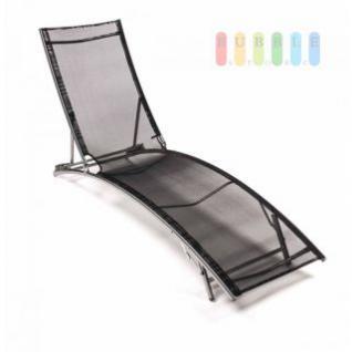 Sonnenliege mit Alu-Rahmen atmungsaktiver Bespannung, 4-fach verstellbar, schwarz