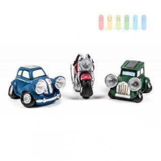 Solar-Leuchten Motorrad und Auto im Vintage-Look, 1 oder 2 LEDs mit Akku und Solapanel, lieferbar in Blau, Grün oder Rot