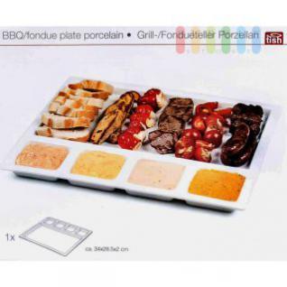 Fondue- oder Grillteller von Tish aus Porzellan, rechteckig, modern, 1 Hauptfach. 4 Soßen-Fächer, weiß