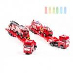 Autotransporter-Set Feuerwehr von Gearbox mit 2 Fahrzeugen, Maßstab 1:64, Länge ca. 32 cm, lieferbar in 2 Varianten