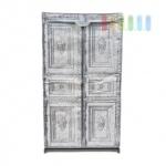 Faltkleiderschrank im Bauernschrank-Design, 3 Reißverschlüsse, Kleiderstange, werkzeuglose Montage, Größe 156 x 87 x 45 cm, grau-schwarz