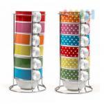 Kaffeebecher/Stapeltassen im XXL-Format mit Metall-Ständer, 7-teilig, Volumen 400 ml, lieferbar in den Designs Uni-Bunt und Punkte-Bunt