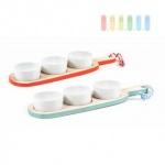 Snack- und Soßenschalen-Set von Alpina auf Holzbrett, Keramik-Schalen, Design rustikal Größe ca. 33 x 4, 5 cm, lieferbar in den Farben Blau oder Rot