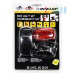 Fahrrad-Beleuchtungs-Set von Dunlop, 4-teilig, 8 LEDs, 5 Funktionen, wasserresistent, batteriebetrieben