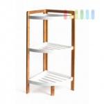 Bambus-Eckregal von Homestyle, Materialmix mit MDF, 3 Fächer mit Rand, luftiges Design, Höhe ca. 80 cm