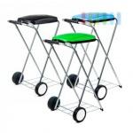 Müllbeutelwagen, mobil, Doppelrahmen, Säcke von 60 bis 130 l Volumen, lieferbar in den Farben Schwarz, Grün oder Blau