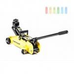 Rangierwagenheber von Dunlop, hydraulisch, Hebelstange, Griff, 4 Rollen, max. Hebelast 2 Tonnen, gelb-schwarz