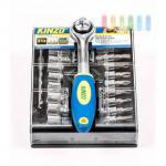 Steckschlüsselsatz mit Knarre Kinzo im Schiebe-Halter mit Clip-Befestigung, 21-teilig