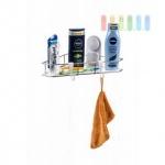 Eck-Duschablage / Organizer von Alpina 1 Regal, 2 Haken, Montage mit Saugnäpfen oder Montageplatten, Belastung max. 10 kg, Größe 14 x 26 x 26 x 35 cm