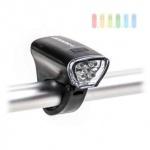 Fahrrad-Frontlicht von Dunlop, 5 weiße LEDs, 2 Funktionen, werkzeuglose Montage, batteriebetrieben