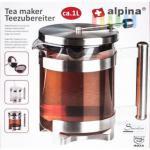 Teezubereiter von alpina aus Edelstahl mit separater Glaskanne, Tee-Ei-Hubsystem tropffrei, Volumen 1 Liter