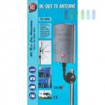 DVB-T-Antenne mit Verstärker, wasserfest, schwenkbar, innen und außen einsetzbar, Masthalterung 12/24V