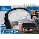 LED-Solar-Strahler von Grundig, 15 weiße LEDs, Bewegungssensor (6 m), separates Solarpanel, 3 m Verbindung, Brenndauer ca. 6-8 Stunden