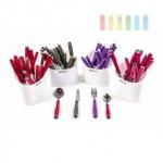 Tafelbesteck-Set von Alpina für 4 Personen im Halter, 17-teilig, dekorativ, praktisch, lieferbar in den Farben Pink, Grau, Rot oder Violett