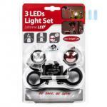 Fahrrad-Beleuchtungs-Set, kompakt, mobil, 4-teilig, 2 x 3 LEDs, wasserresistent, inklusive Batterien