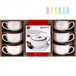 Cappuccino-Set von Alpina 12-teilig, 6 Tassen, 6 Unterteller, Volumen 200 ml, 6 Personen, weiß