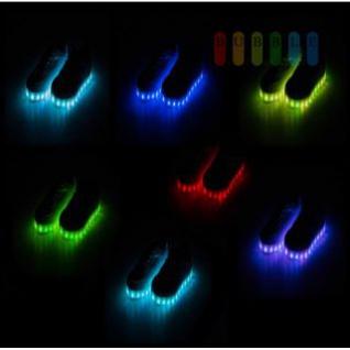 LED-Sneakers von PartyFunLights 12 Funktionen, LEDs umlaufend, USB-Ladekabel, Akku, weiß, lieferbar in den Größen 34- 39