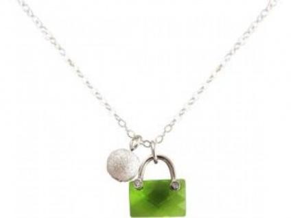 Halskette Anhänger 925 Silber Handtasche Stardust Kugel Grün 45 cm